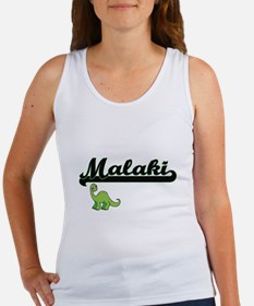 Malaki Classic Name Design with Dinosaur Tank Top