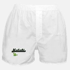 Malaki Classic Name Design with Dinos Boxer Shorts