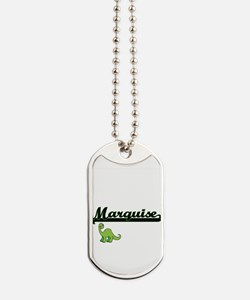 Marquise Classic Name Design with Dinosau Dog Tags