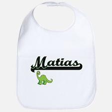 Matias Classic Name Design with Dinosaur Bib