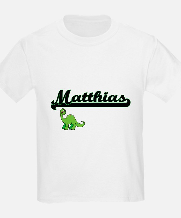 Matthias Classic Name Design with Dinosaur T-Shirt