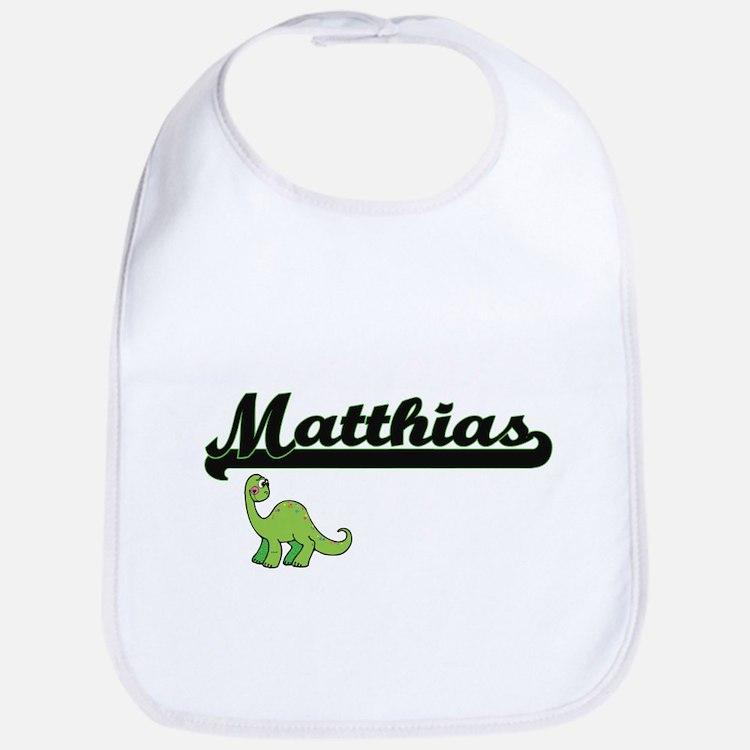 Matthias Classic Name Design with Dinosaur Bib