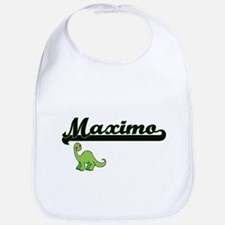 Maximo Classic Name Design with Dinosaur Bib