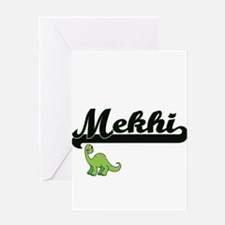 Mekhi Classic Name Design with Dino Greeting Cards