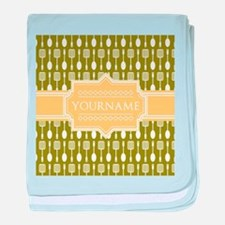 Olive Pattern Personalized Name baby blanket