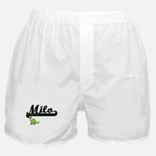 Milo Classic Name Design with Dinosau Boxer Shorts