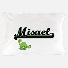 Misael Classic Name Design with Dinosa Pillow Case