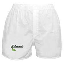 Mohamed Classic Name Design with Dino Boxer Shorts