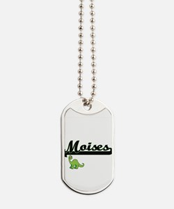 Moises Classic Name Design with Dinosaur Dog Tags