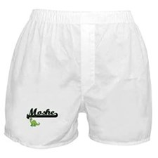 Moshe Classic Name Design with Dinosa Boxer Shorts
