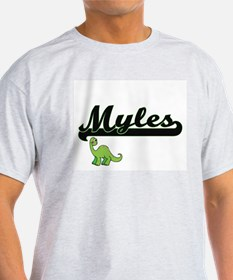 Myles Classic Name Design with Dinosaur T-Shirt