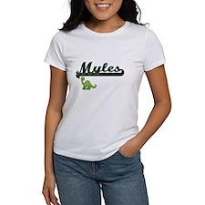 Myles Classic Name Design with Dinosaur T-Shirt