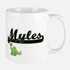 Myles Classic Name Design with Dinosaur Mugs