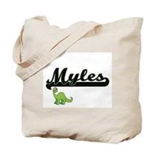 Myles Classic Name Design with Dinosaur Tote Bag