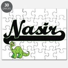 Nasir Classic Name Design with Dinosaur Puzzle