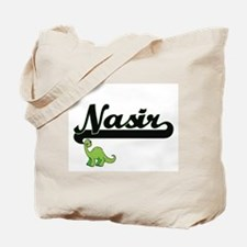 Nasir Classic Name Design with Dinosaur Tote Bag