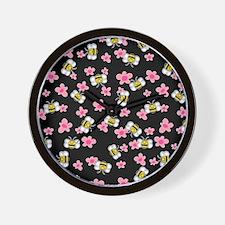 Bee Happy Floral 2 Wall Clock