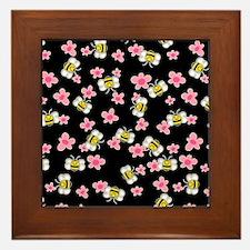 Bee Happy Floral 2 Framed Tile