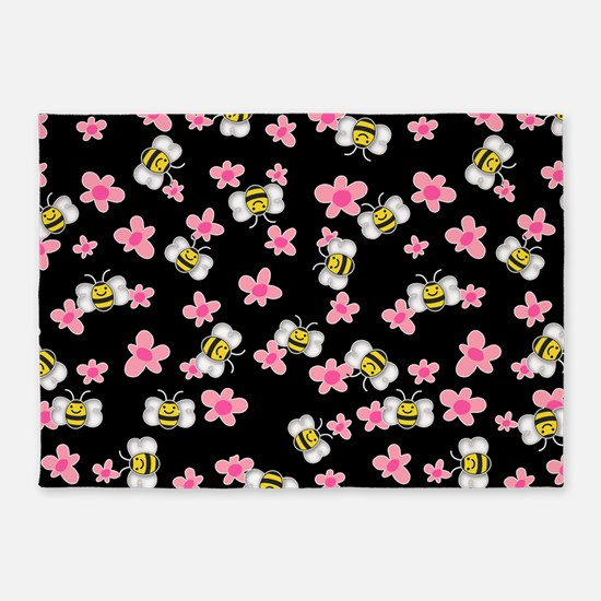 Bee Happy Floral 2 5'x7'Area Rug