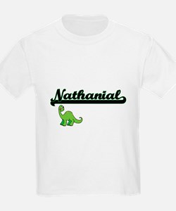 Nathanial Classic Name Design with Dinosau T-Shirt