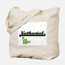 Nathanial Classic Name Design with Dinosa Tote Bag