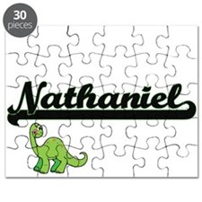 Nathaniel Classic Name Design with Dinosaur Puzzle