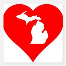 "Michigan Heart Cutout Square Car Magnet 3"" x 3"""