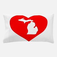 Michigan Heart Cutout Pillow Case
