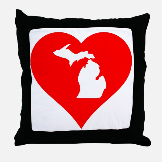 Michigan Heart Cutout Throw Pillow