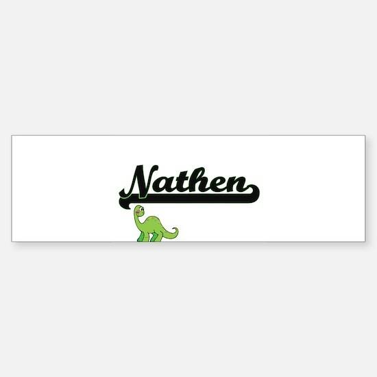 Nathen Classic Name Design with Din Bumper Car Car Sticker