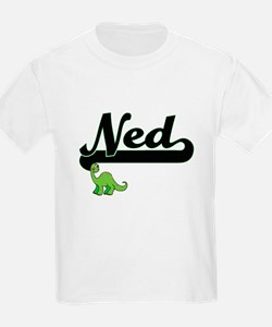 Ned Classic Name Design with Dinosaur T-Shirt