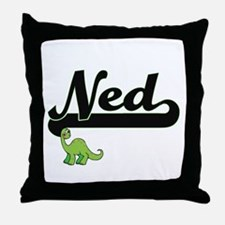 Ned Classic Name Design with Dinosaur Throw Pillow