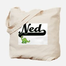 Ned Classic Name Design with Dinosaur Tote Bag