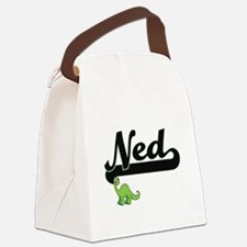 Ned Classic Name Design with Dino Canvas Lunch Bag