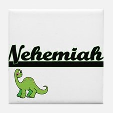 Nehemiah Classic Name Design with Din Tile Coaster