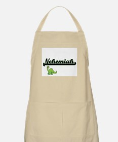 Nehemiah Classic Name Design with Dinosaur Apron