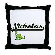 Nickolas Classic Name Design with Din Throw Pillow