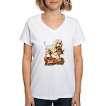 VICTORIAN POODLE ART Women's V-Neck T-Shirt