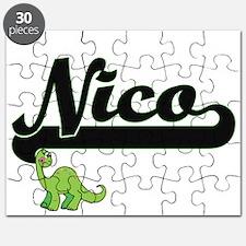 Nico Classic Name Design with Dinosaur Puzzle