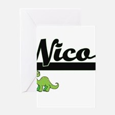 Nico Classic Name Design with Dinos Greeting Cards