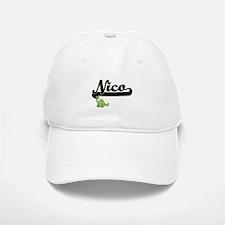 Nico Classic Name Design with Dinosaur Baseball Baseball Cap