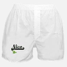 Nico Classic Name Design with Dinosau Boxer Shorts