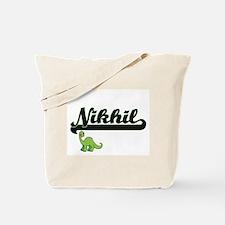 Nikhil Classic Name Design with Dinosaur Tote Bag