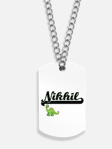 Nikhil Classic Name Design with Dinosaur Dog Tags
