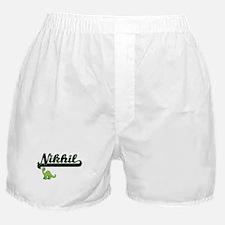 Nikhil Classic Name Design with Dinos Boxer Shorts