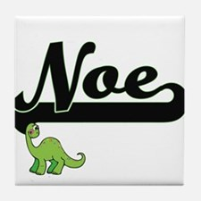 Noe Classic Name Design with Dinosaur Tile Coaster