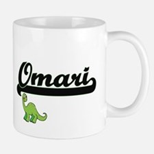 Omari Classic Name Design with Dinosaur Mugs