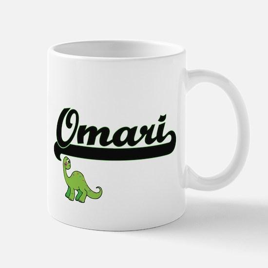 Omari Classic Name Design with Dinosaur Mugs