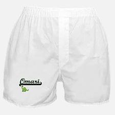 Omari Classic Name Design with Dinosa Boxer Shorts