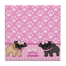 Pug Cuties Pink Stripes and Paws Tile Coaster